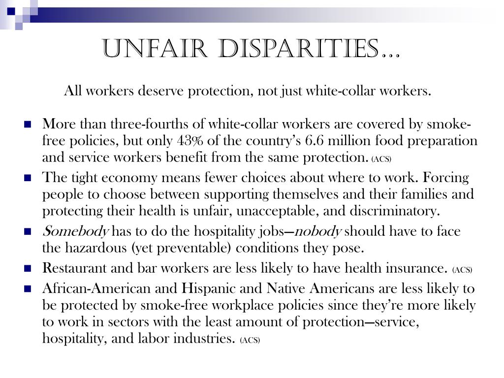 Unfair disparities…