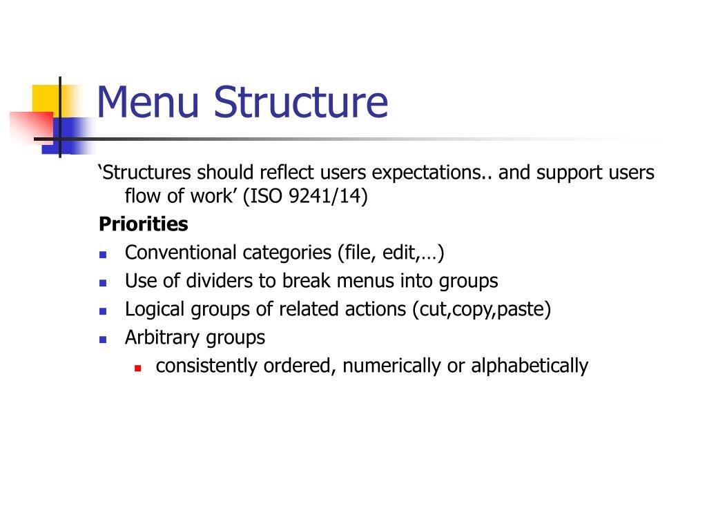 Menu Structure