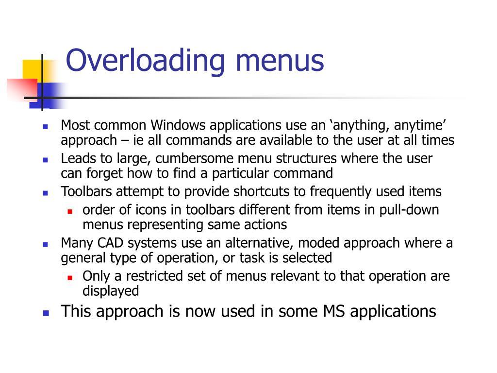 Overloading menus