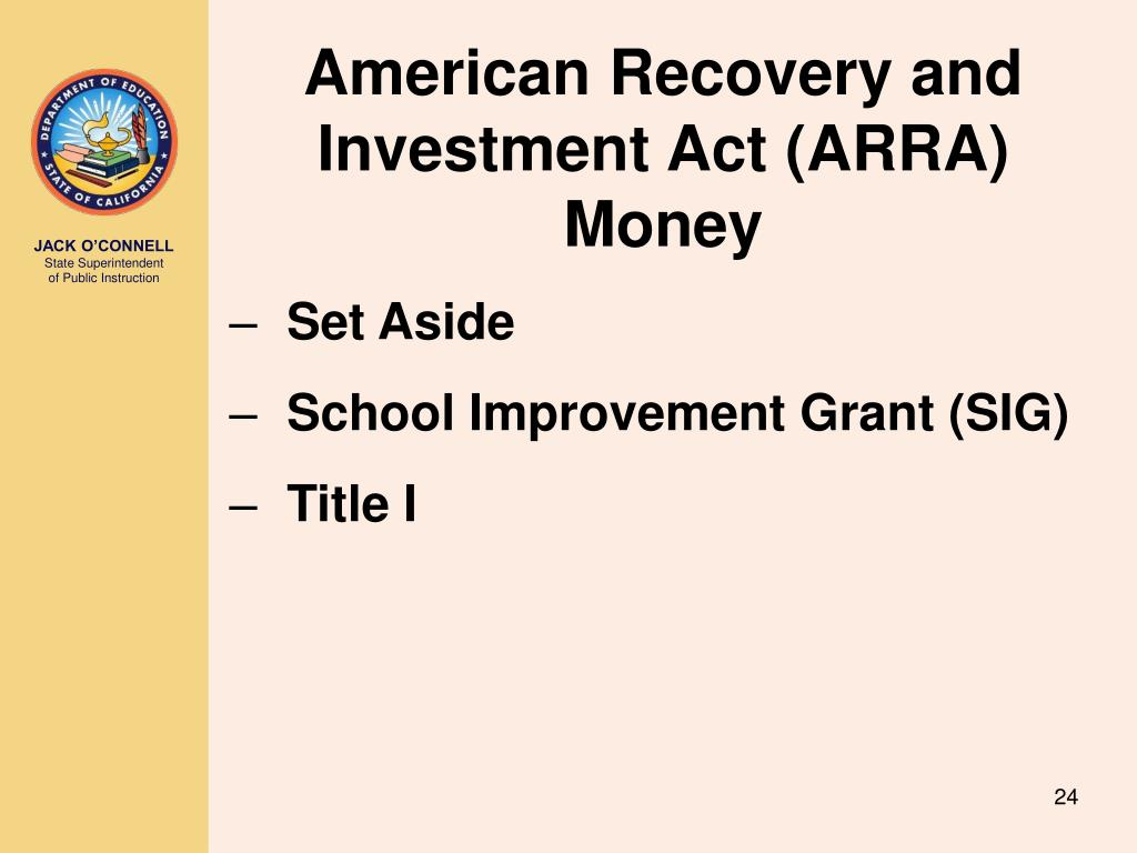 American Recovery and Investment Act (ARRA) Money