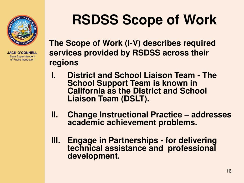 RSDSS Scope of Work