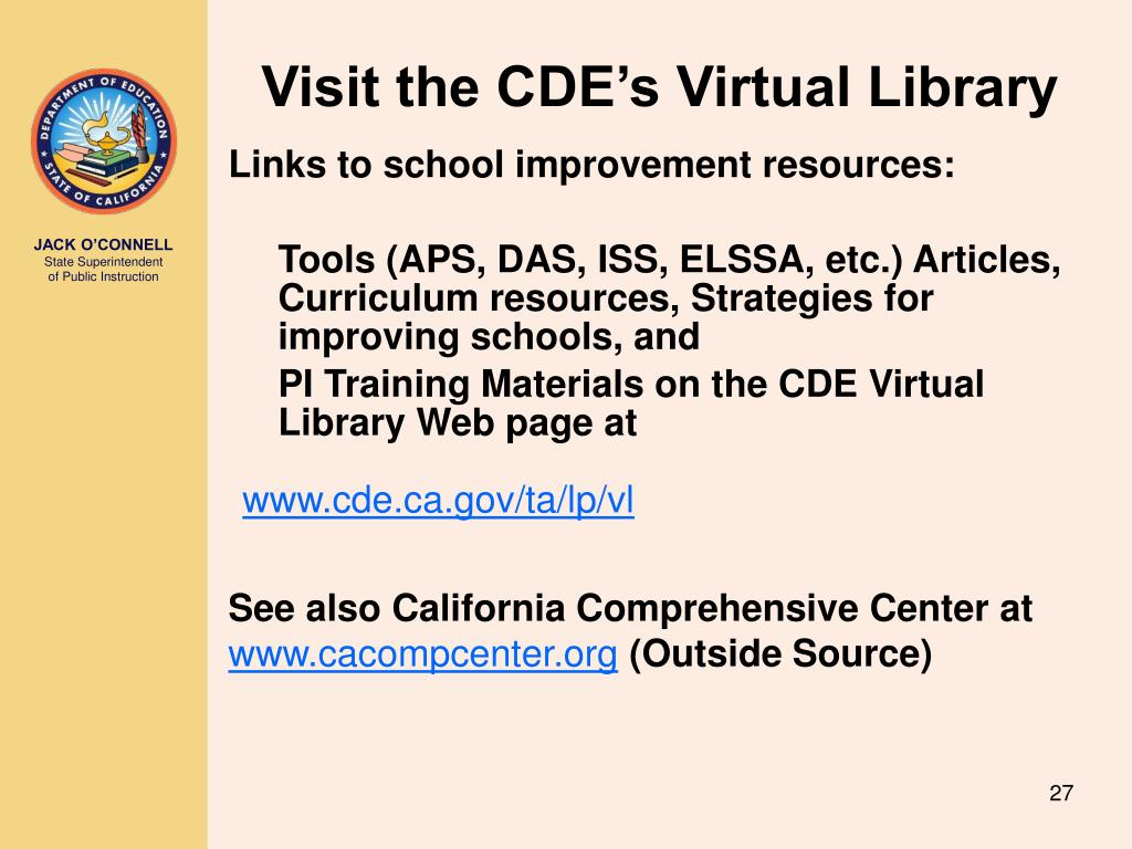 Visit the CDE's Virtual Library