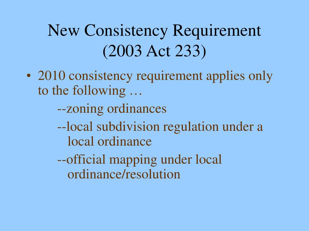 New Consistency Requirement