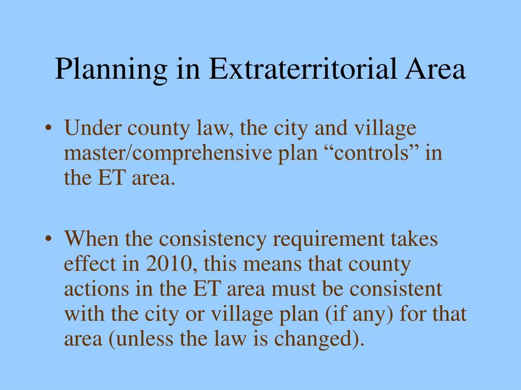 Planning in Extraterritorial Area