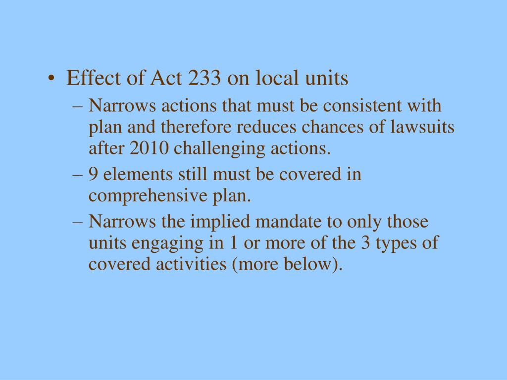 Effect of Act 233 on local units