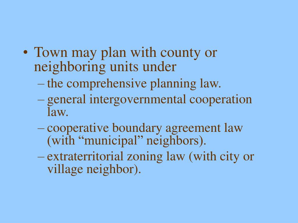 Town may plan with county or neighboring units under