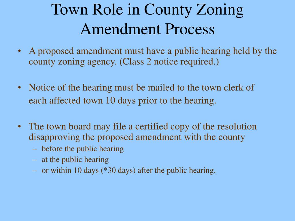 Town Role in County Zoning Amendment Process