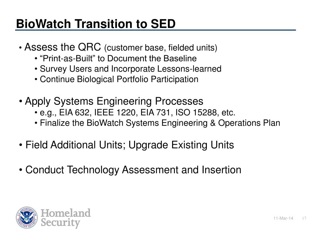 BioWatch Transition to SED