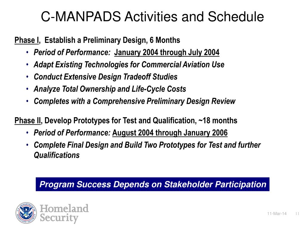 C-MANPADS Activities and Schedule