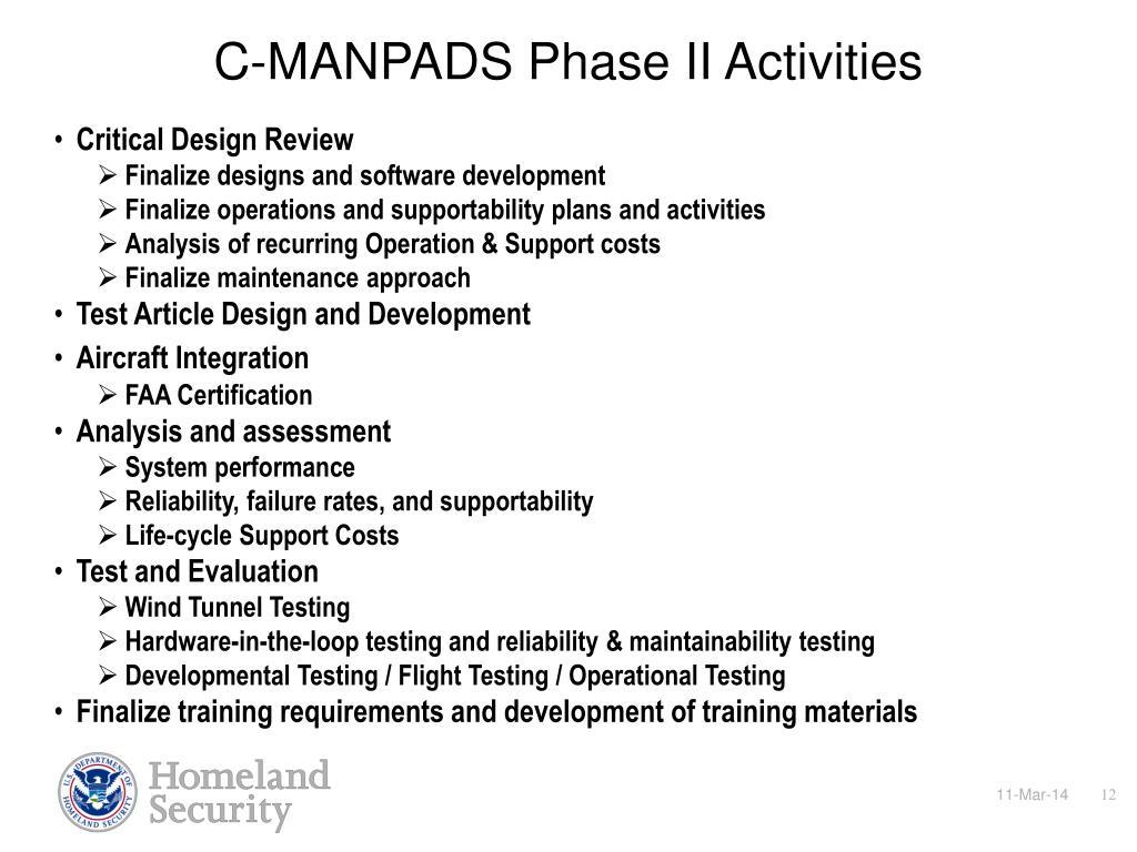 C-MANPADS Phase II Activities