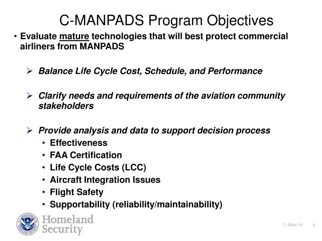 C-MANPADS Program Objectives
