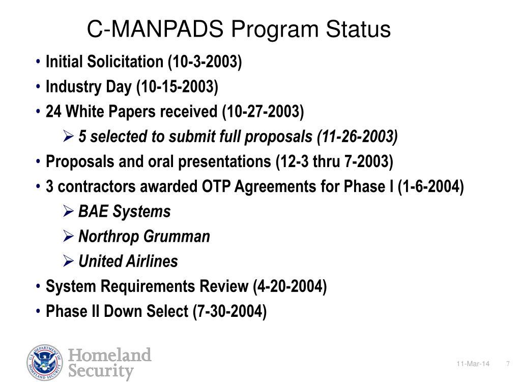 C-MANPADS Program Status