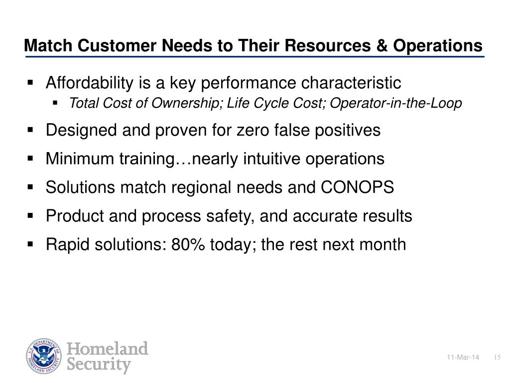 Match Customer Needs to Their Resources & Operations