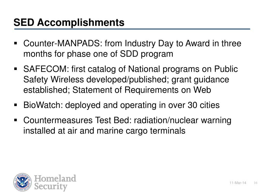 SED Accomplishments