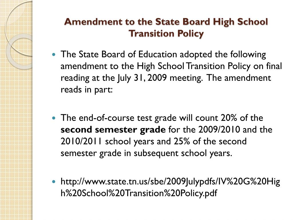 Amendment to the State Board High School Transition Policy