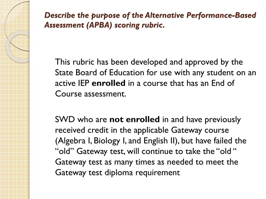 Describe the purpose of the Alternative Performance-Based Assessment (APBA) scoring rubric.