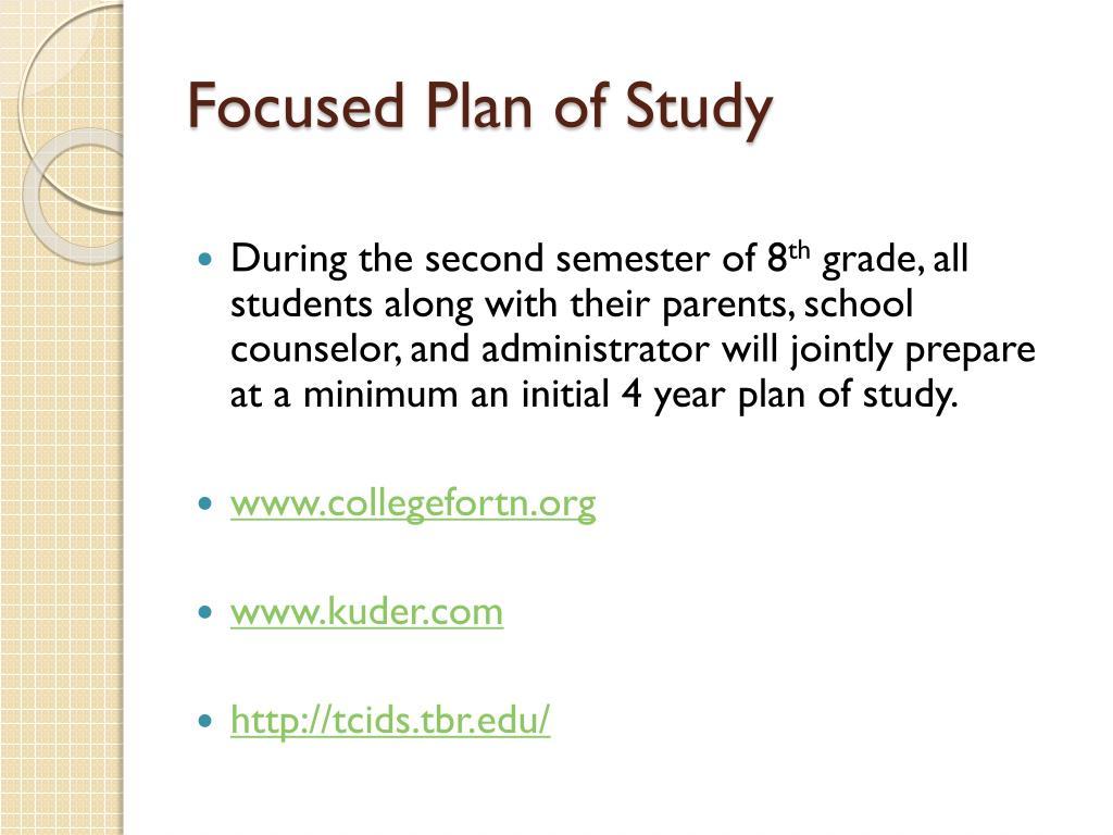 Focused Plan of Study