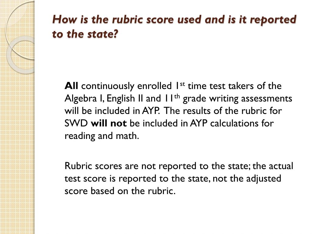How is the rubric score used and is it reported to the state?