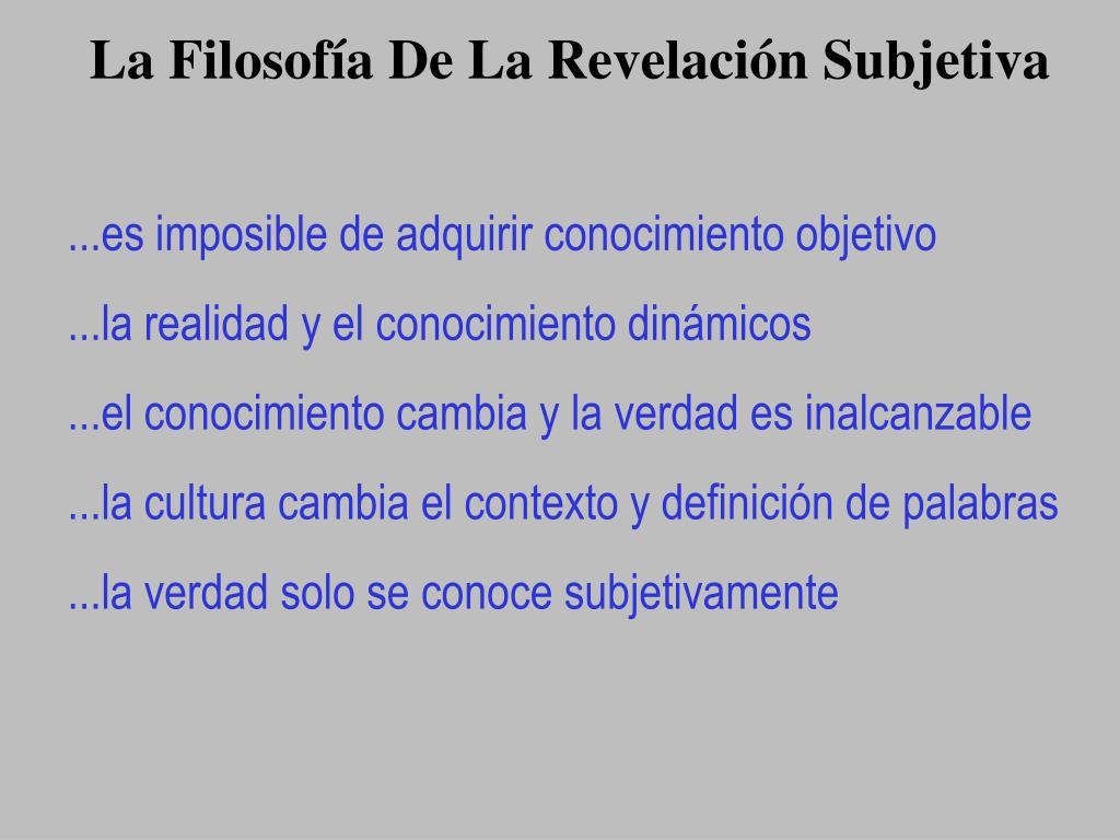 La Filosofía De La Revelación Subjetiva