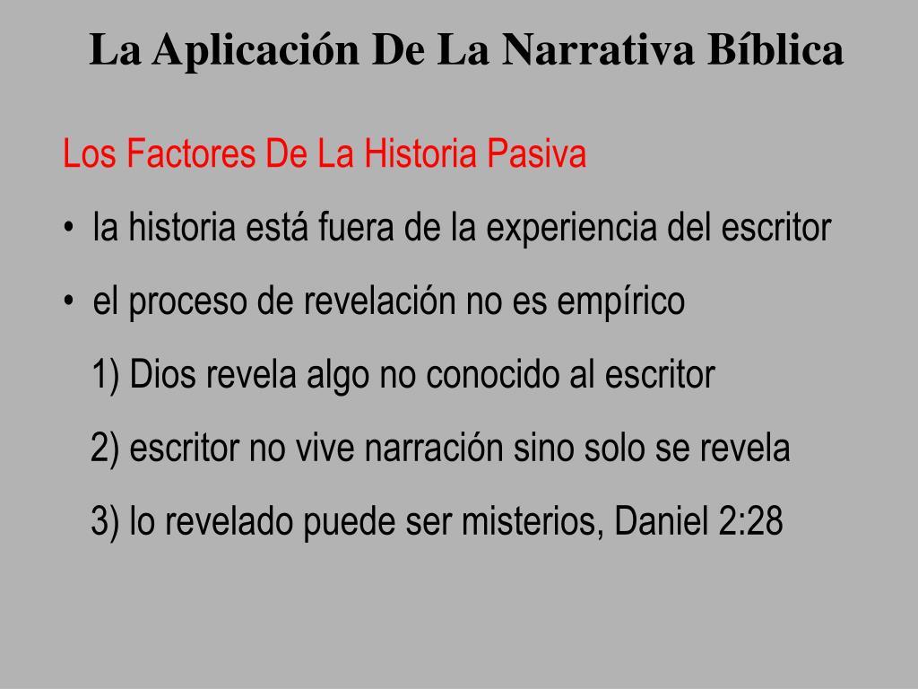 La Aplicación De La Narrativa Bíblica