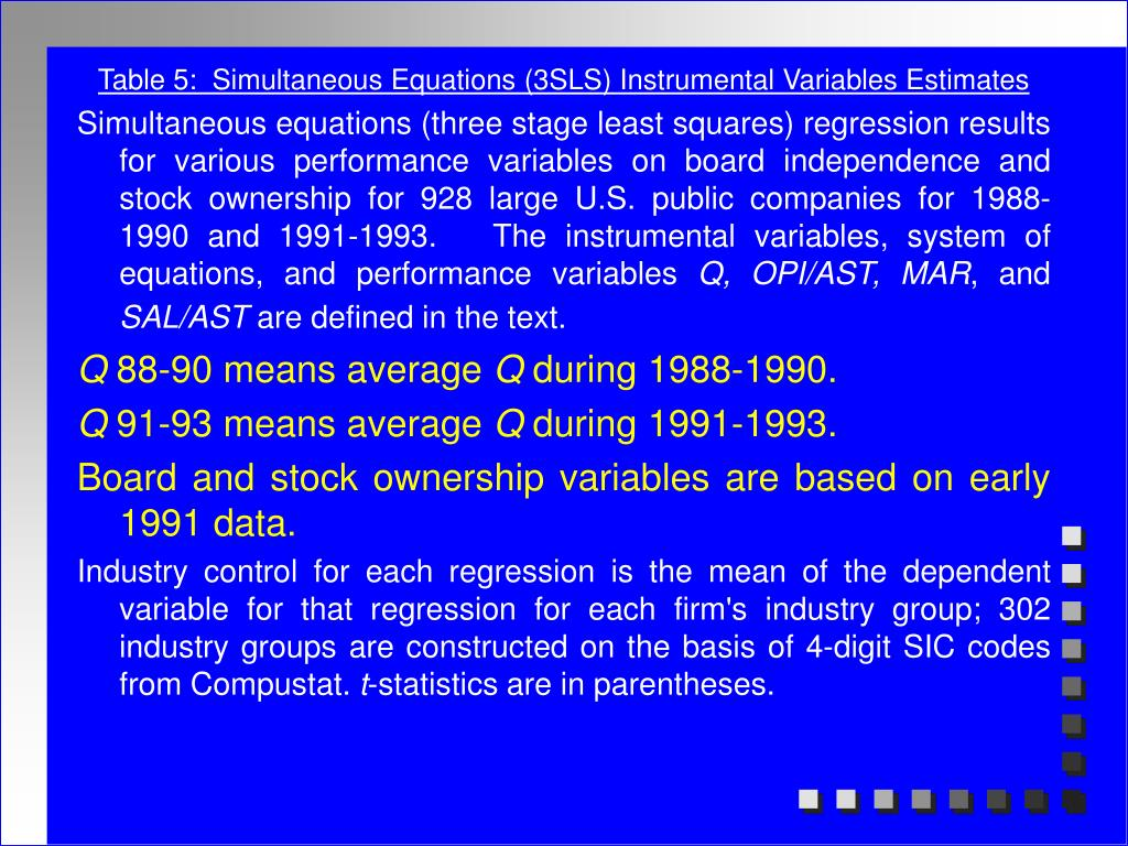 Table 5:  Simultaneous Equations (3SLS) Instrumental Variables Estimates
