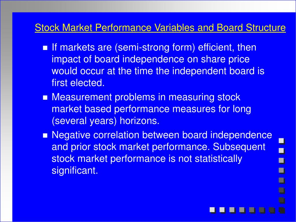 Stock Market Performance Variables and Board Structure
