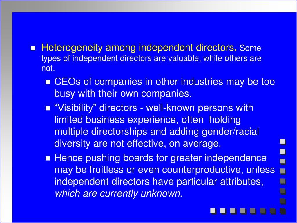 Heterogeneity among independent directors