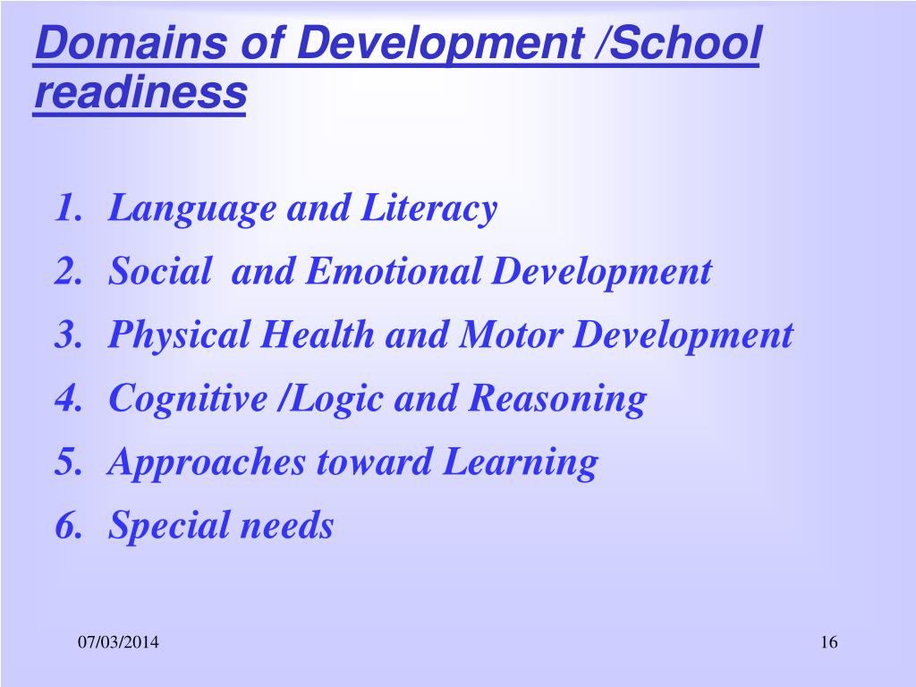 Domains of Development /School readiness