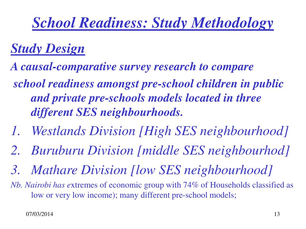 School Readiness: Study Methodology