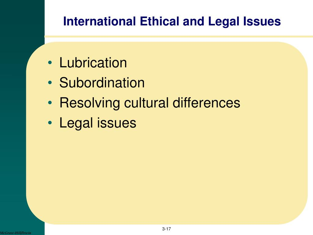 International Ethical and Legal Issues