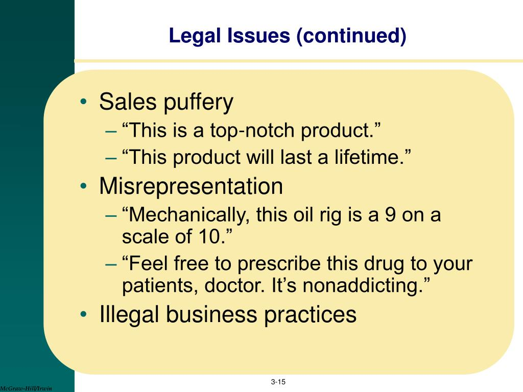 Legal Issues (continued)