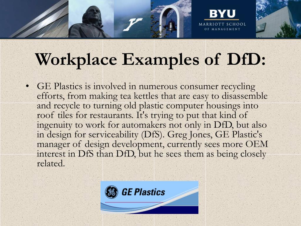 Workplace Examples of DfD: