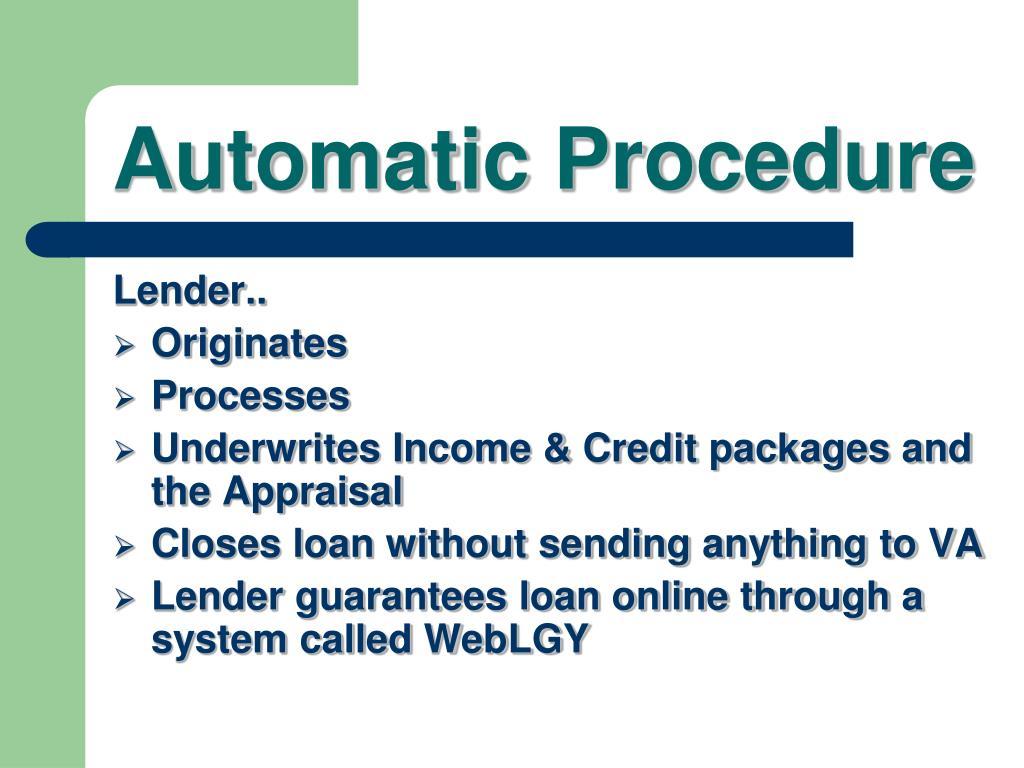 Automatic Procedure