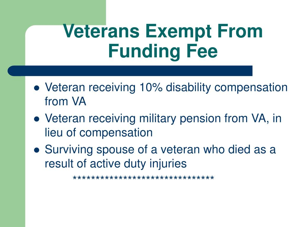Veterans Exempt From