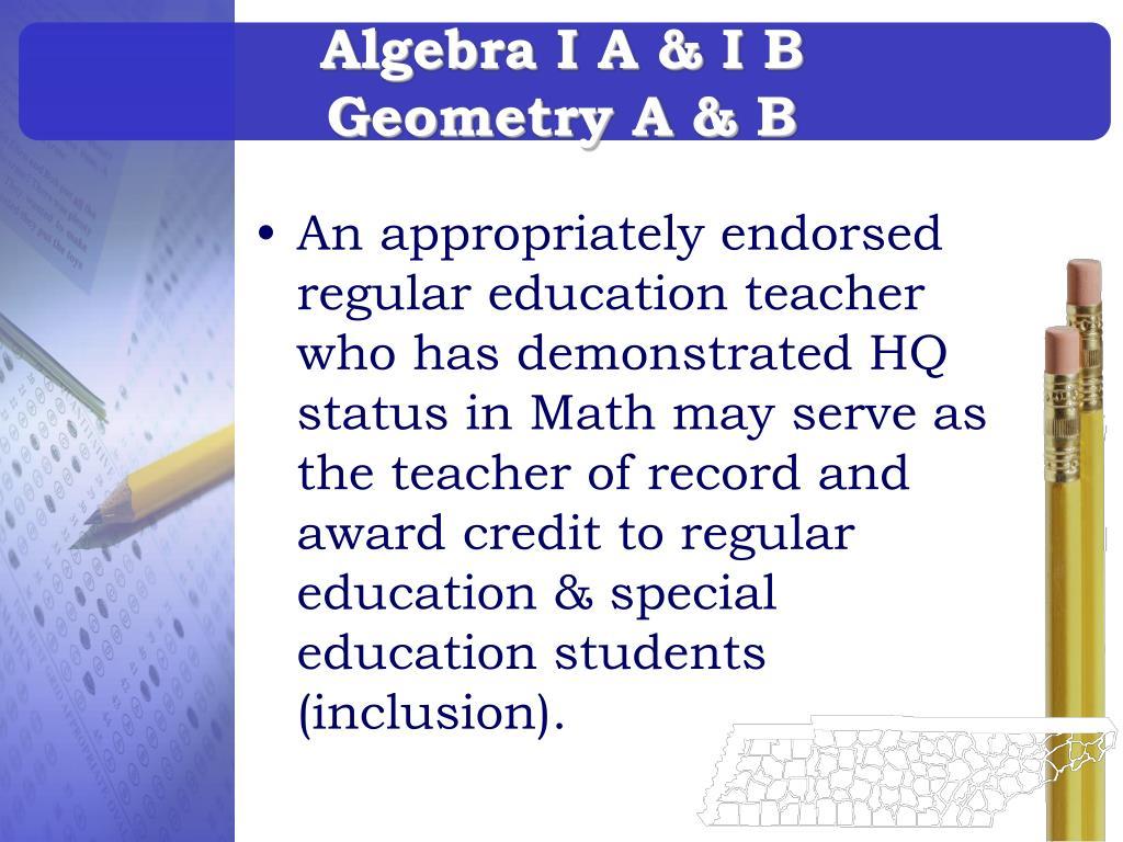Algebra I A & I B