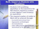 math impact on students with disabilities