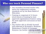 who can teach personal finance