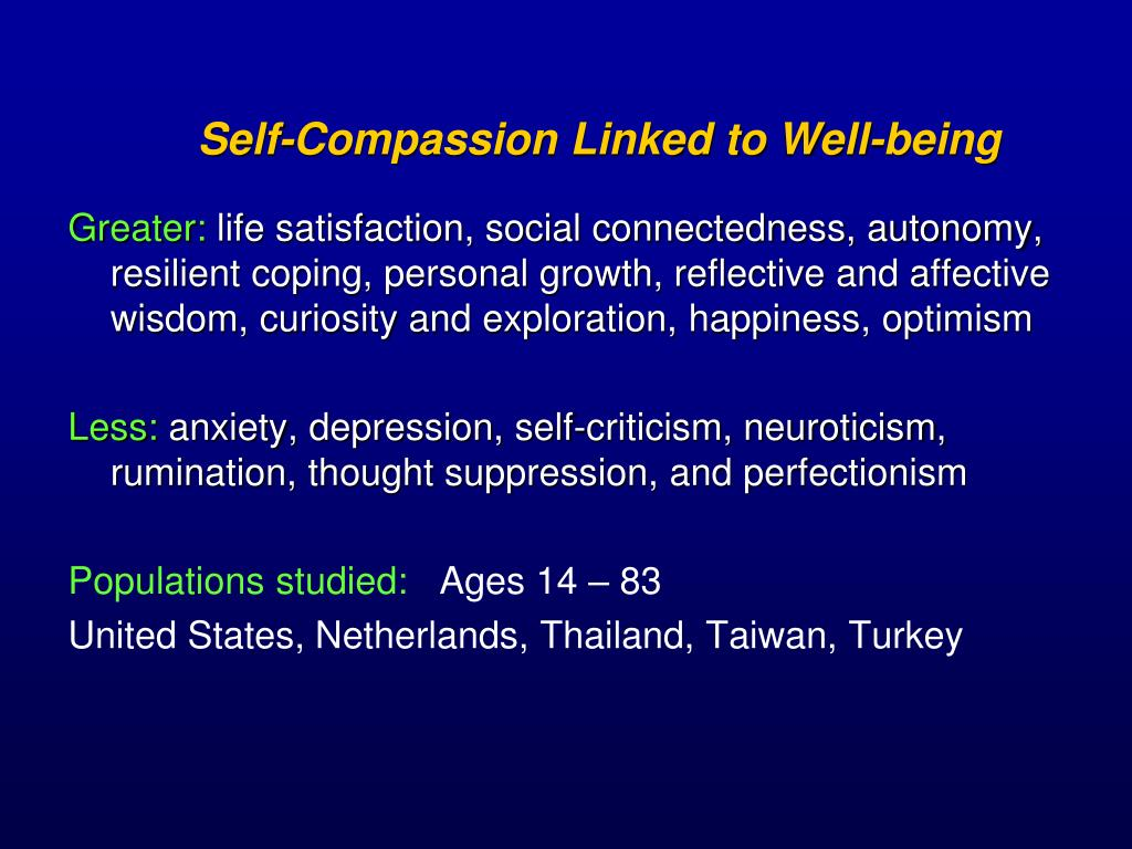 Self-Compassion Linked to Well-being