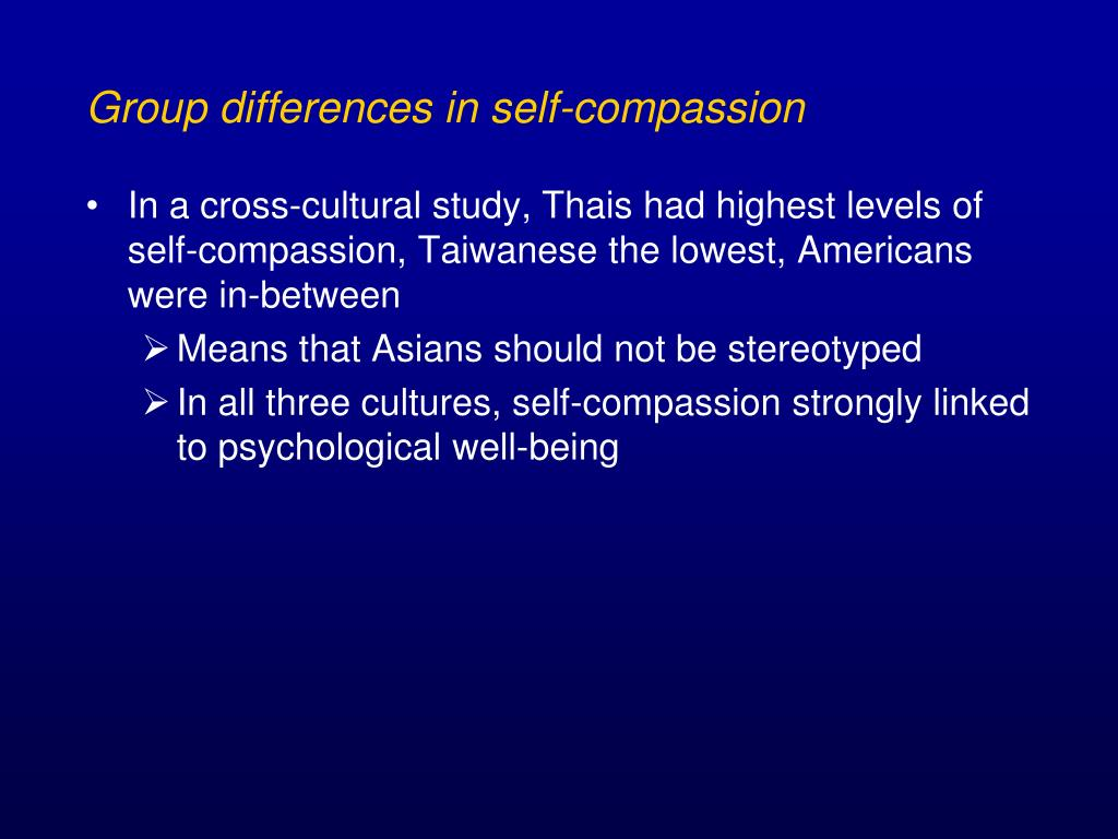 Group differences in self-compassion