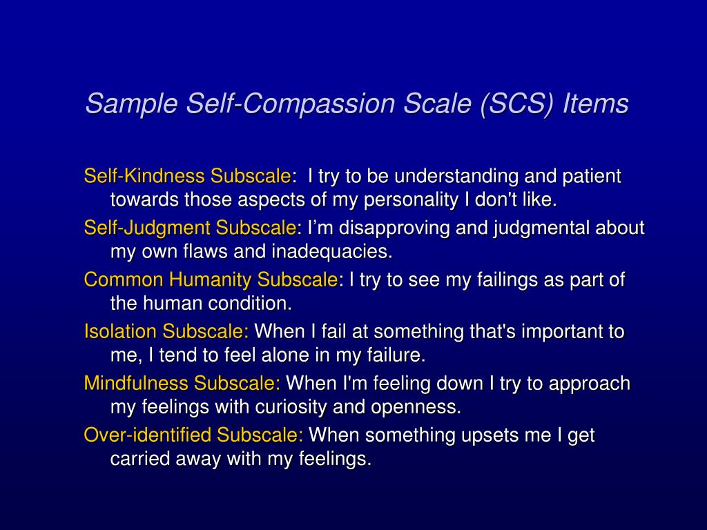 Sample Self-Compassion Scale (SCS) Items