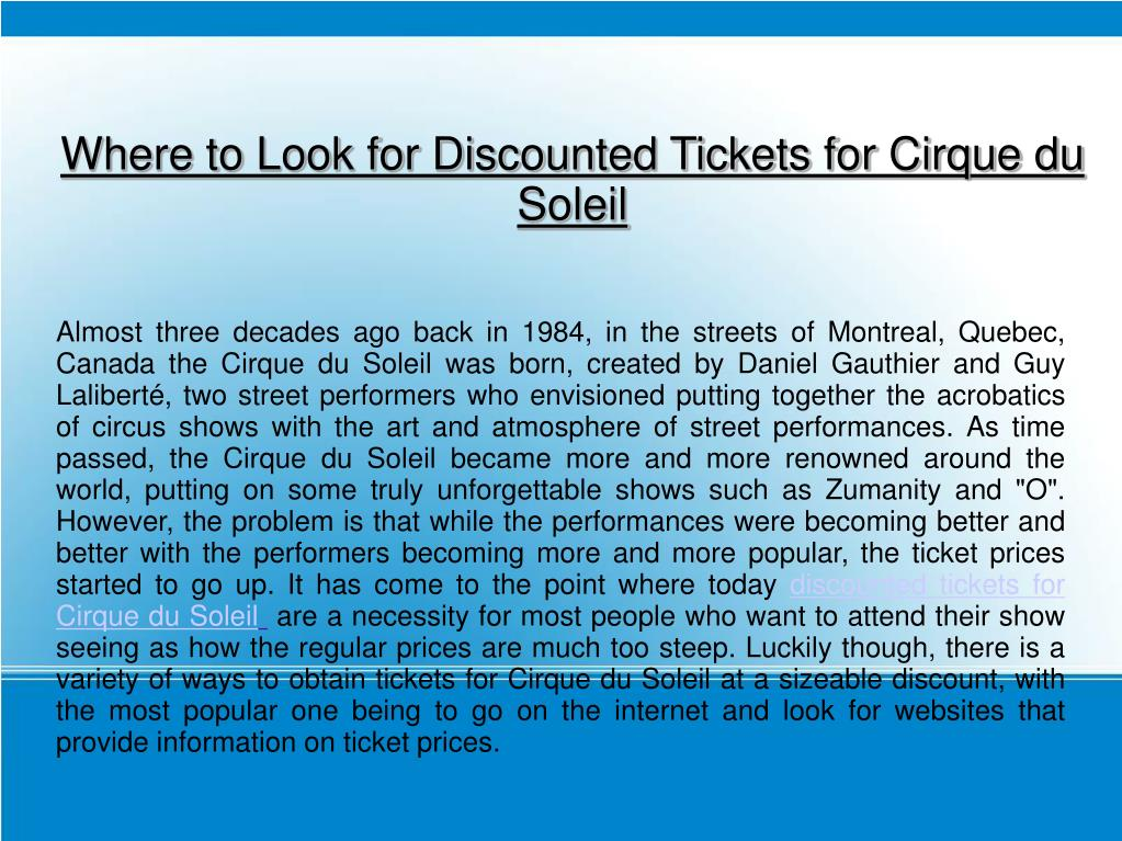Where to Look for Discounted Tickets for Cirque du Soleil