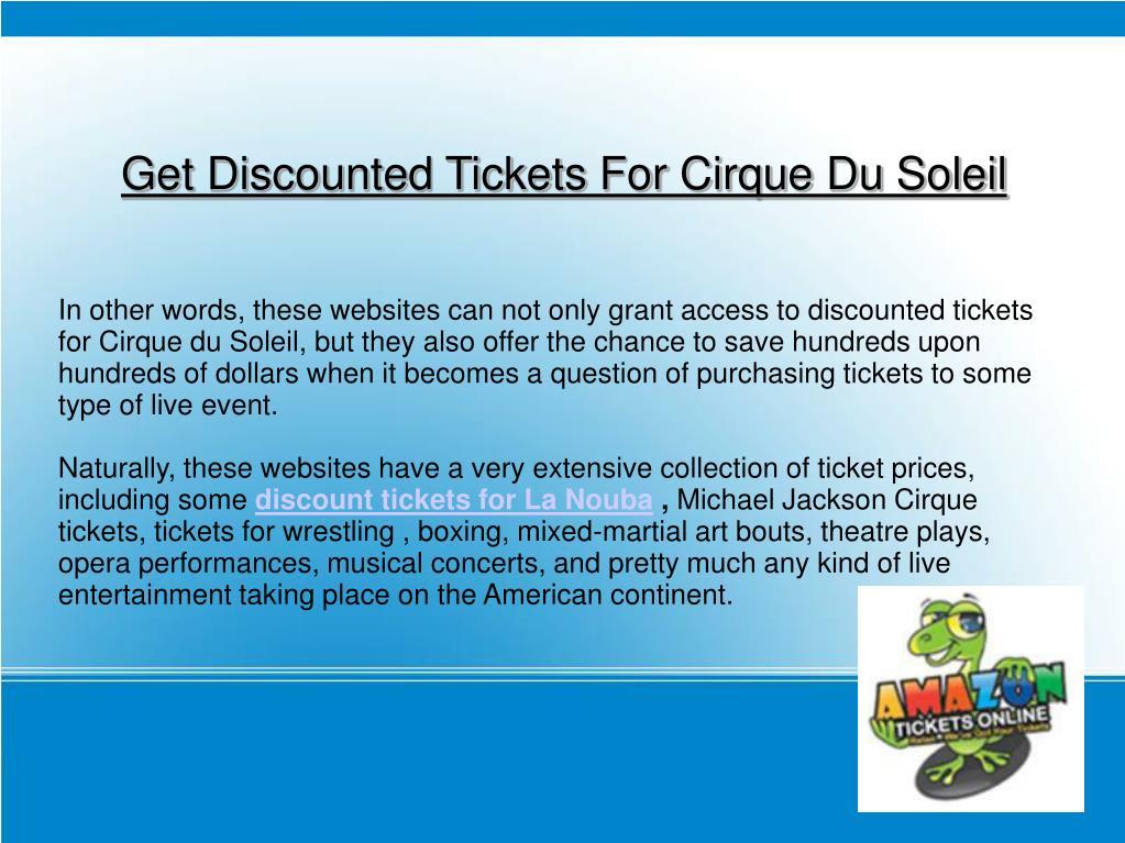 Get Discounted Tickets For Cirque Du Soleil
