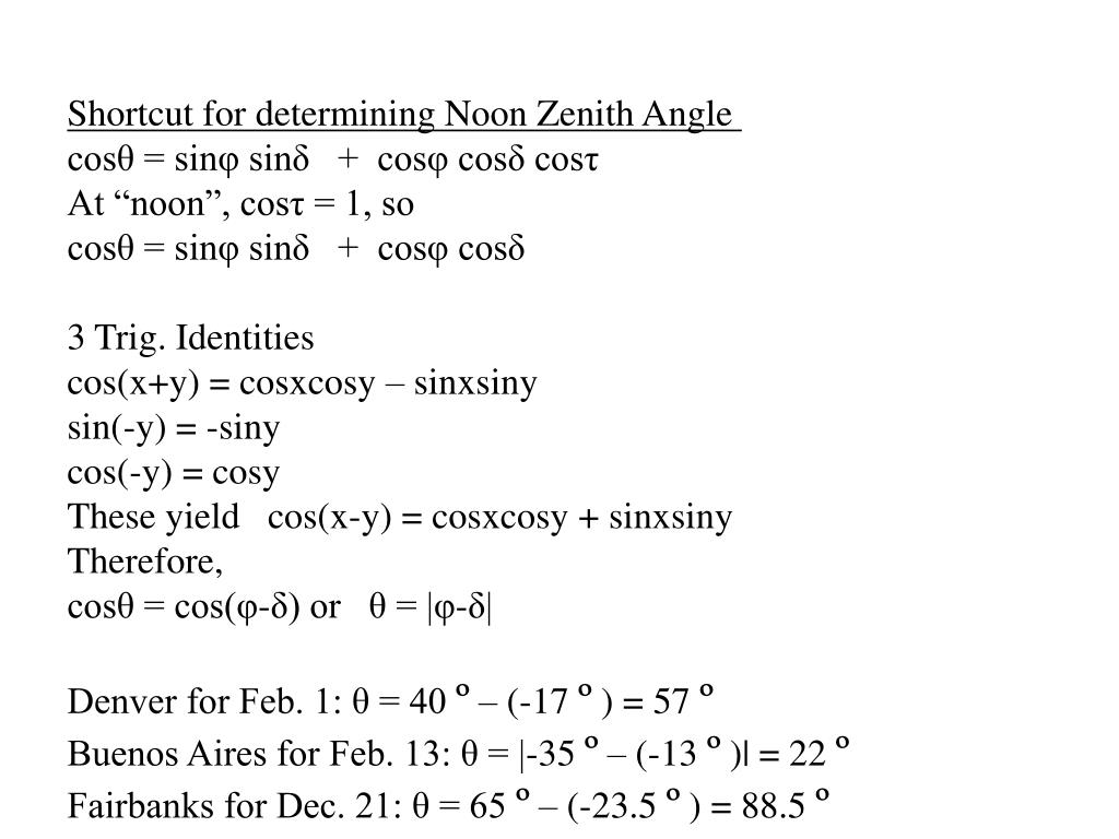 Shortcut for determining Noon Zenith Angle