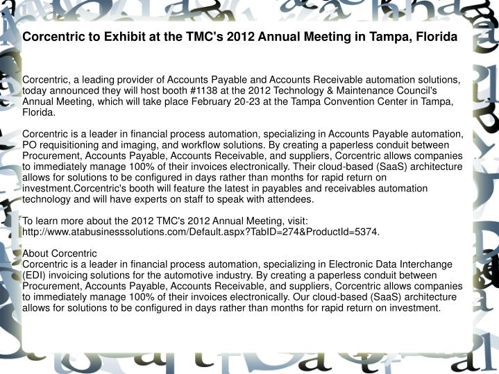 Corcentric to Exhibit at the TMC's 2012 Annual Meeting in Tampa, Florida