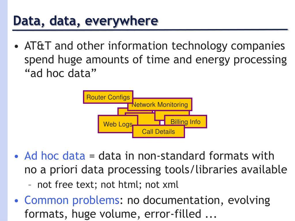 Data, data, everywhere