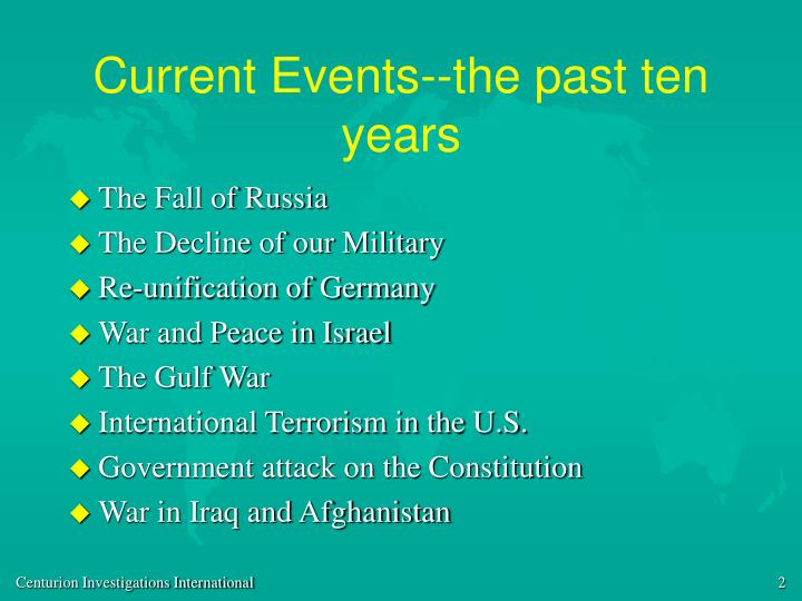Current events the past ten years