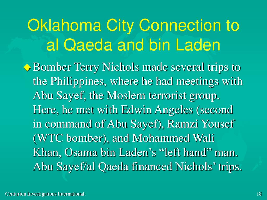 Oklahoma City Connection to al Qaeda and bin Laden