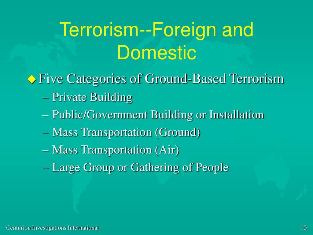 Terrorism--Foreign and Domestic