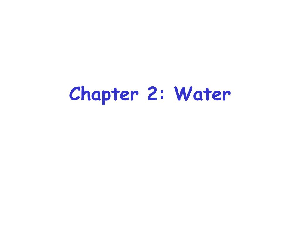 Chapter 2: Water