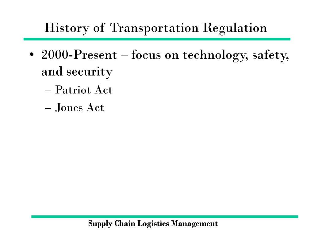History of Transportation Regulation